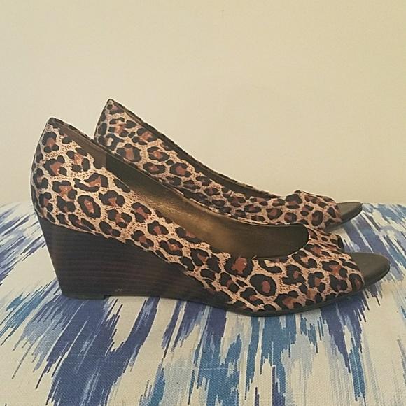 Shoes | Leopard Peep Toe Wedges | Poshmark